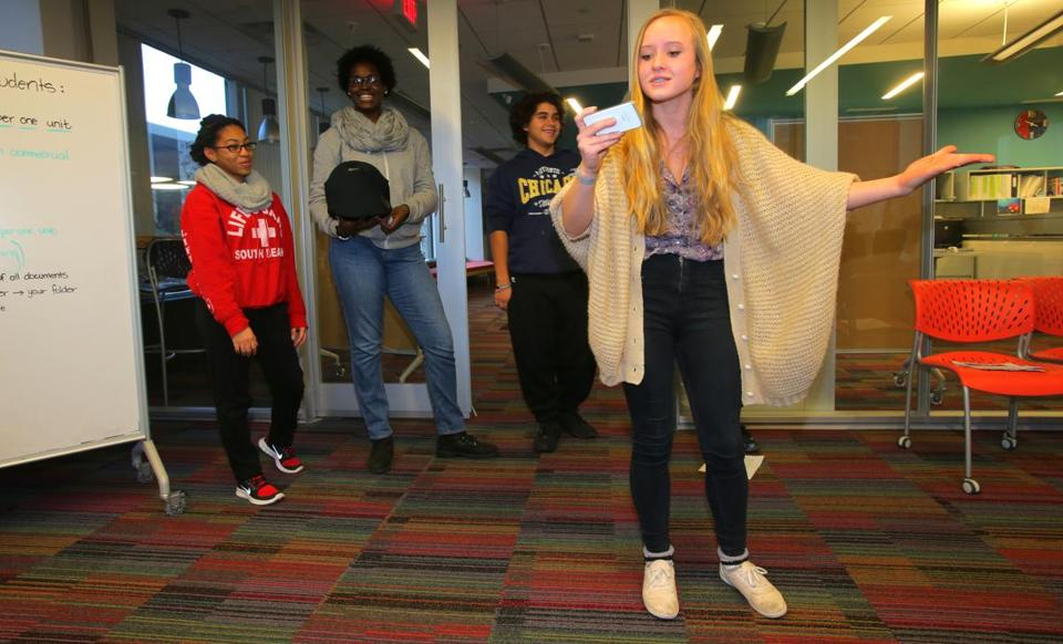 Amelia Kroner, 15, performed with a group that is presenting a TV commercial at the Possible Project.