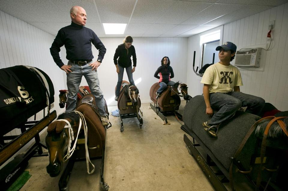 Chris McCarron Left Instructs His Students On Using The Equicizer A Mechanical Training