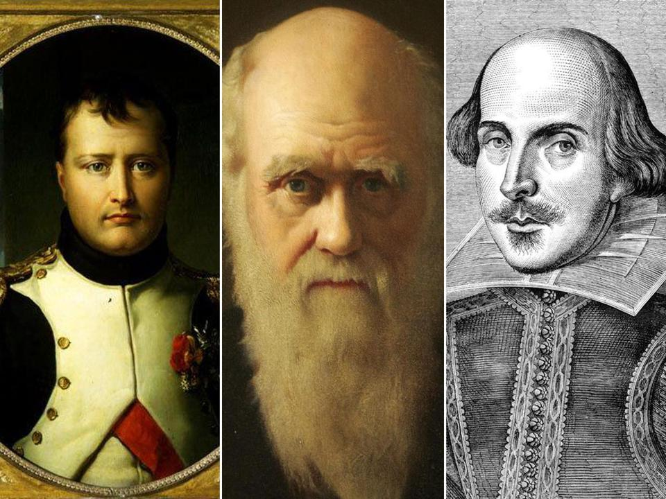 From left, Napoleon, Charles Darwin, and William Shakespeare.