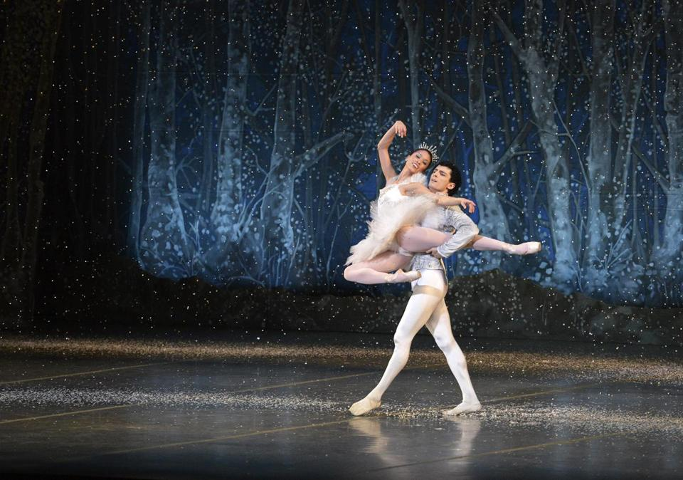 "Lia Cirio and Lasha Khozashvili in dress rehearsal for Boston Ballet's ""The Nutcracker"" at the Boston Opera House."