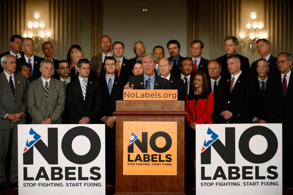 No Labels held a photo session in October for a group of Republican and Democratic lawmakers calling for an end to the government shutdown.