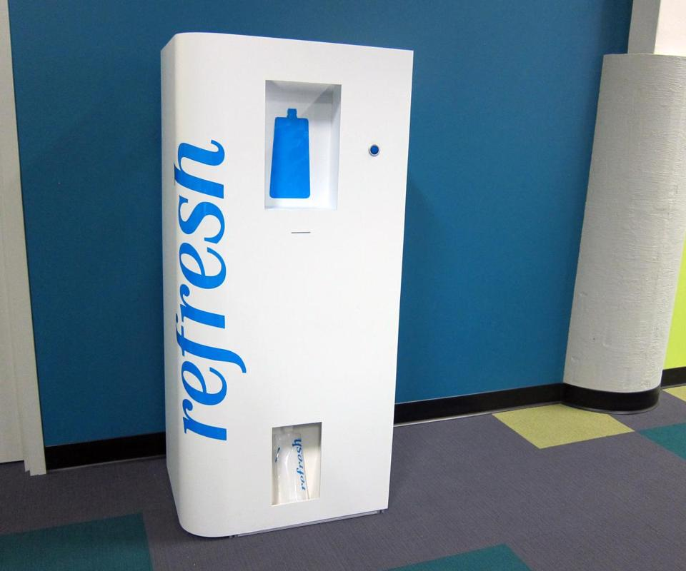 The Refresh vending machine is designed to reduce energy use and costs by storing bottles that are filled on the spot.