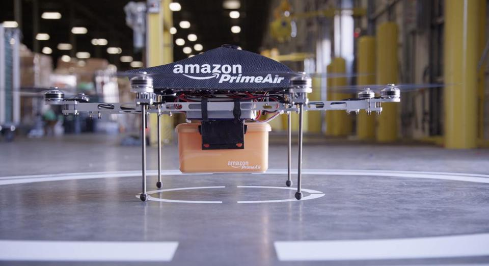 "A flying ""octocopter"" mini-drone that would be used to fly small packages to Amazon.cml consumers."