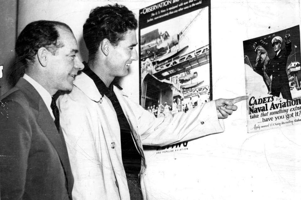 Ted Williams with his chief critic, the widely read Daily Record columnist Dave Egan, after Williams enlisted in the Navy in May 1942.