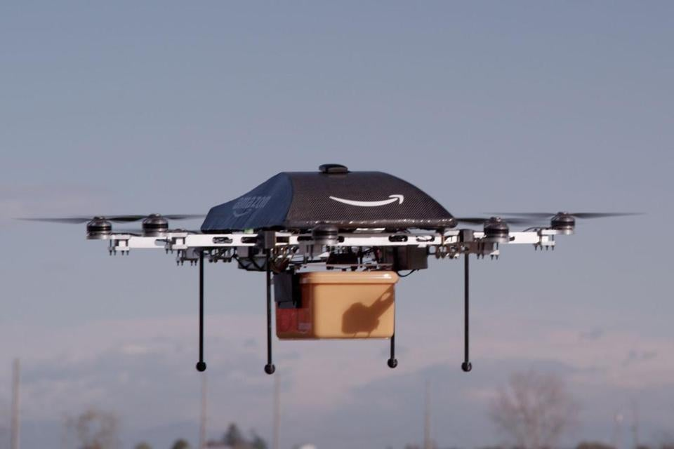A handout provided by Amazon.com showed a remote aerial vehicle that the retailer hopes to develop to deliver goods.