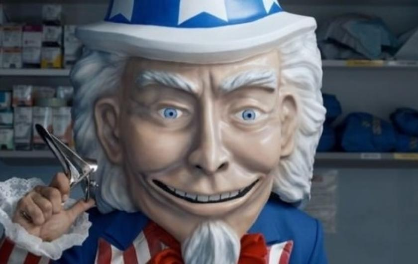 A creepy looking Uncle Sam in anti-ACA ads.