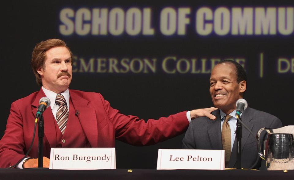 Will Ferrell as Ron Burgundy, with Emerson College president Lee Pelton, answered questions at a news conference at the school.