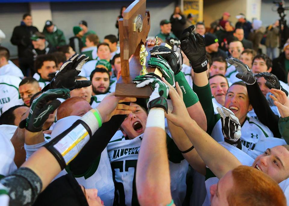 Mansfield players celebrated beating St. John's of Shrewsbury for the Division 2 title.