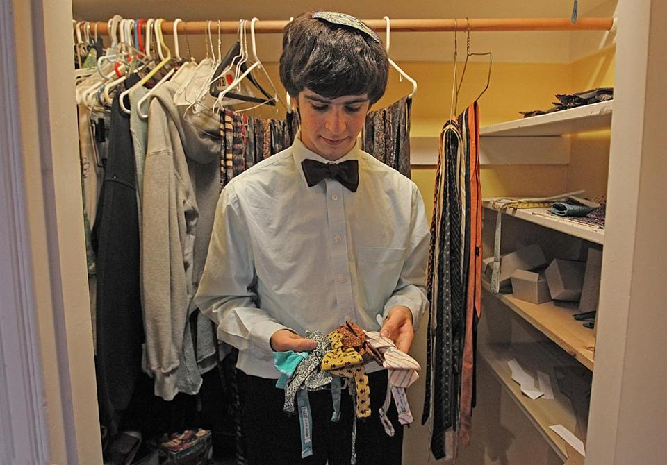 Akiva Jackson (top and left) and Jack Sivan (right) have set up their business making bow ties in Jackson's bedroom in Newton.