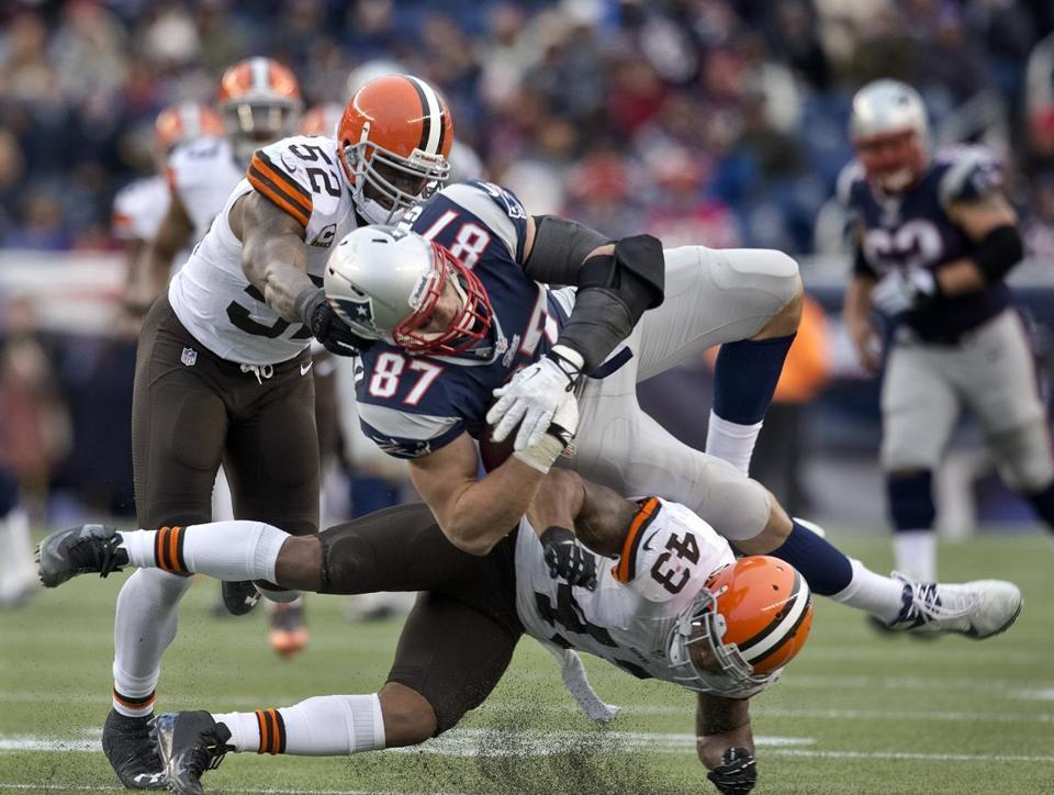 Patriots tight end Rob Gronkowski was injured in the third quarter of Sunday's game against the Browns.