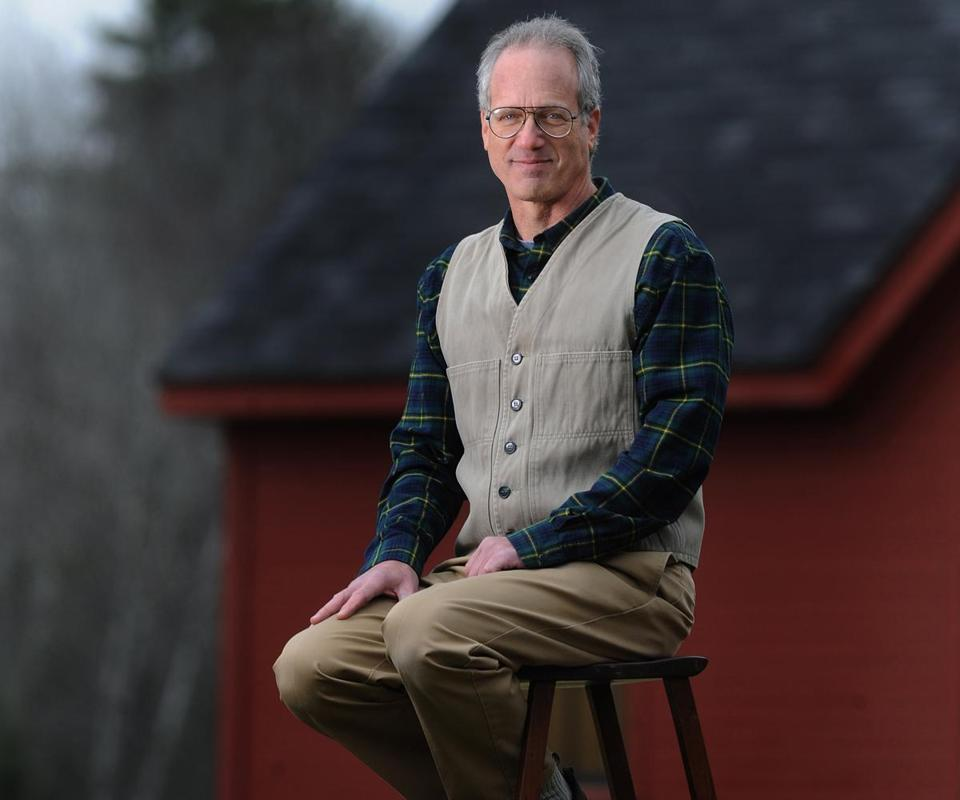 Peter Korn (on a stool he made 30 years ago) founded the Center for Furniture Craftsmanship in Rockport, Maine, in 1993.