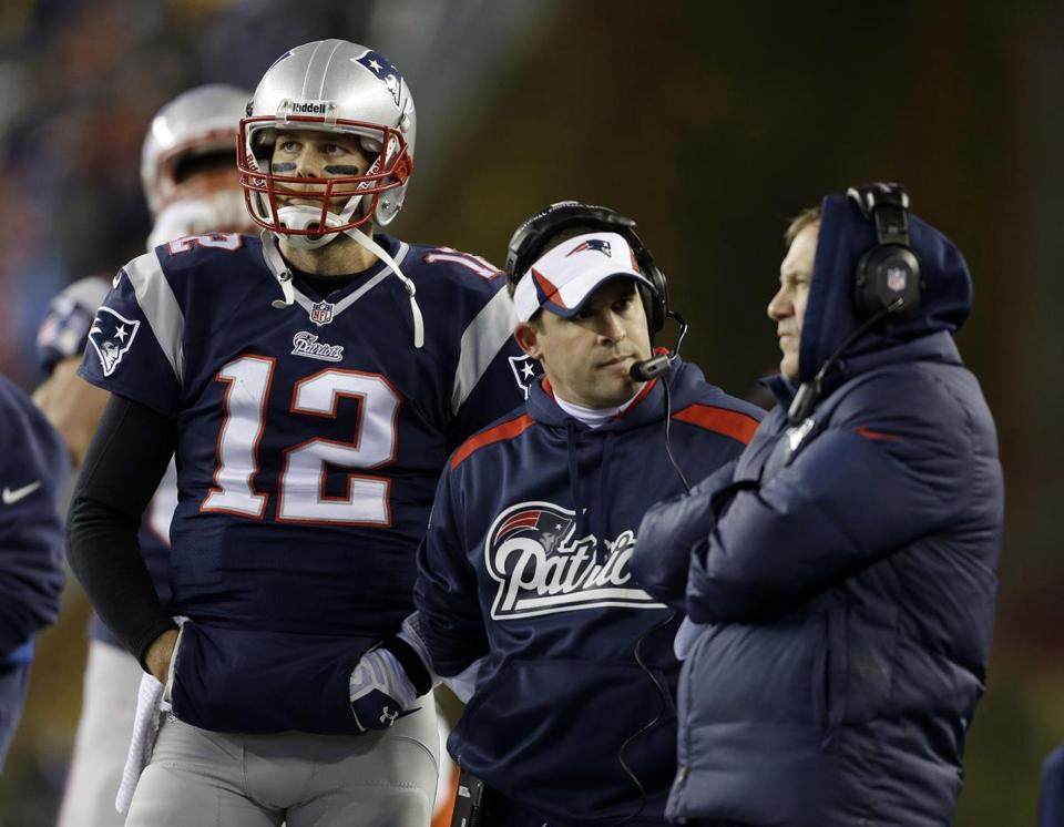 Tom Brady, Josh McDaniels and Bill Belichick, left to right, now have to move on without Rob Gronkowski.