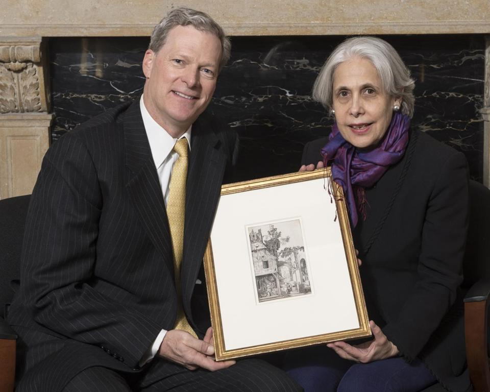 Steven C. Rockefeller Jr. and Nancy Netzer, director of the McMullen Museum of Art.