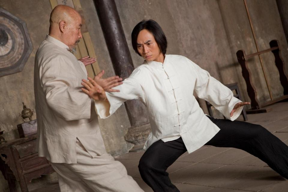 "Yu Hai (left) and Tiger Chen in Keanu Reeves's ""Man of Tai Chi."""