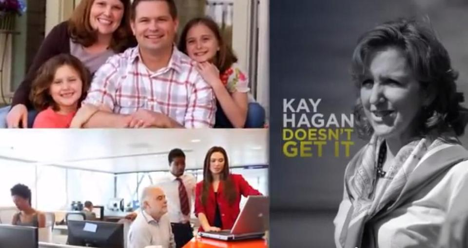 Ads such as this one by Americans for Prosperity appear to be having an impact in undermining support for Senator Kay Hagan, whose disapproval ratings have soared.