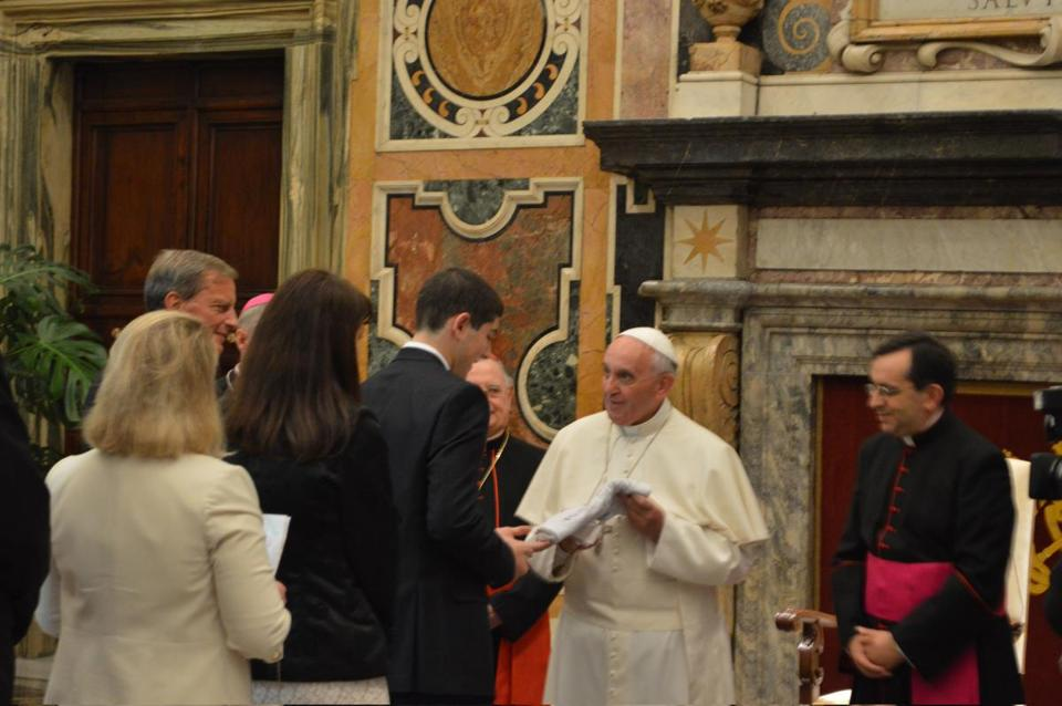 MEETING OF A LIFETIME — Sam Hornstein, a junior at Westwood High, studied especially hard in advance of his meeting Pope Francis during a trip to Rome. Page 8