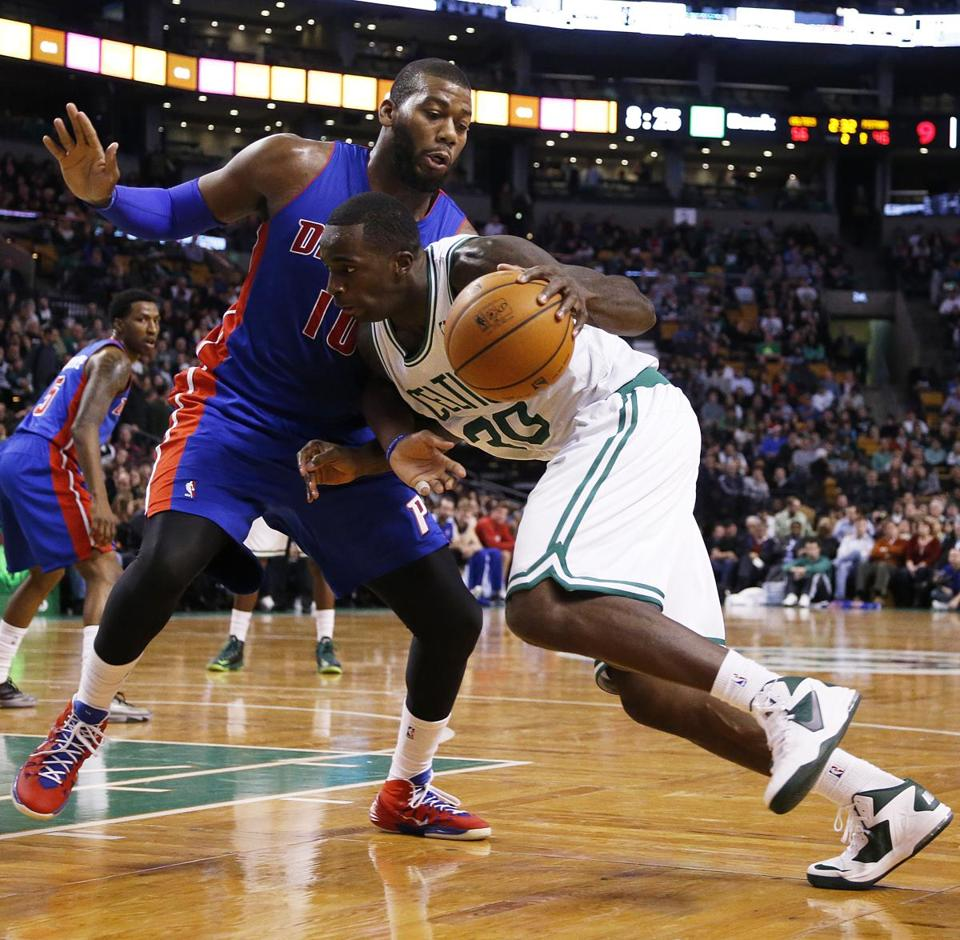 Brandon Bass drove to the rim while guarded by Detroit's Greg Monroe.