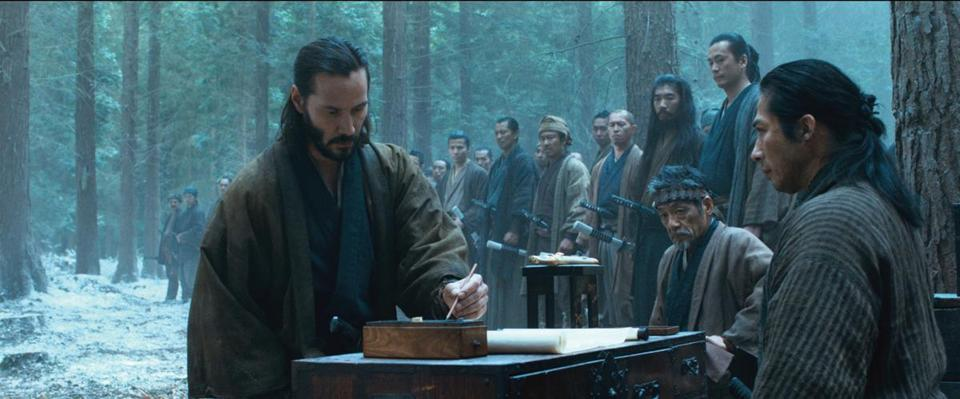 "Keanu Reeves (left) and Hiroyuki Sanada (right) in director Carl Rinsch's ""47 Ronin."""