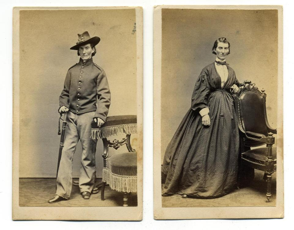 Photographs of Frances Clalin Clayton disguised as a Union officer and posing in a dress.
