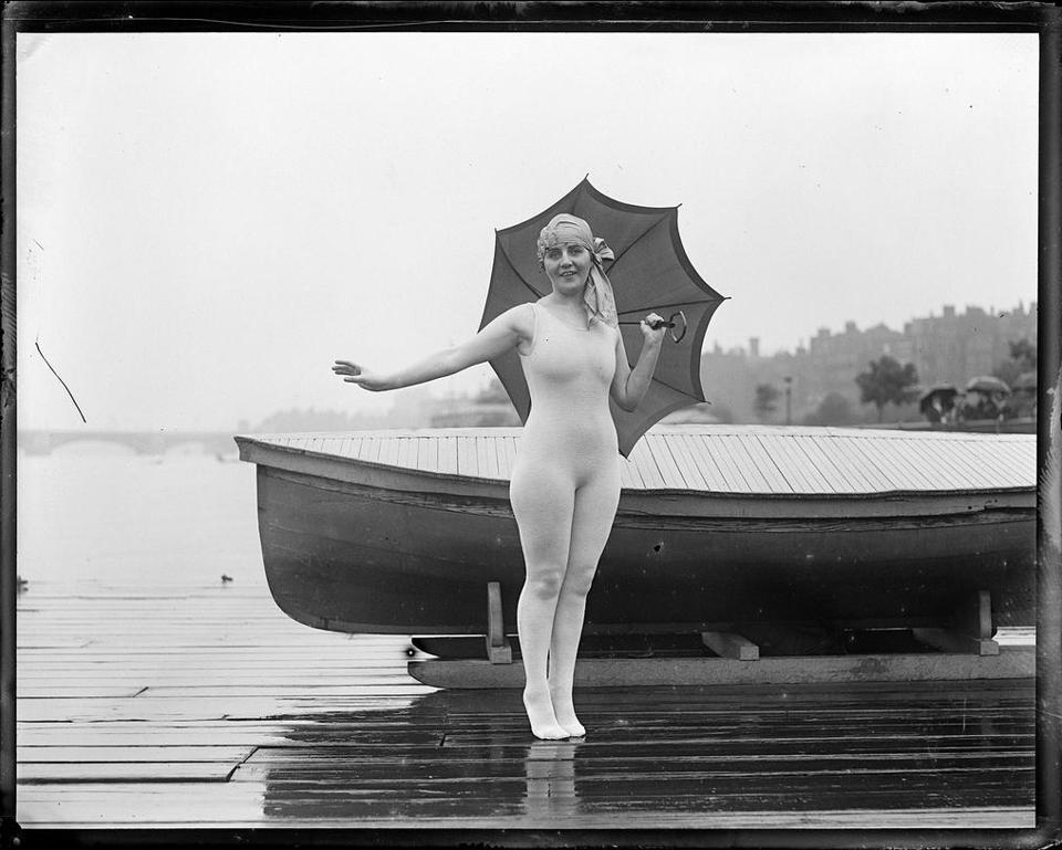 A bather beside the Charles River, sometime between 1917 and 1934.