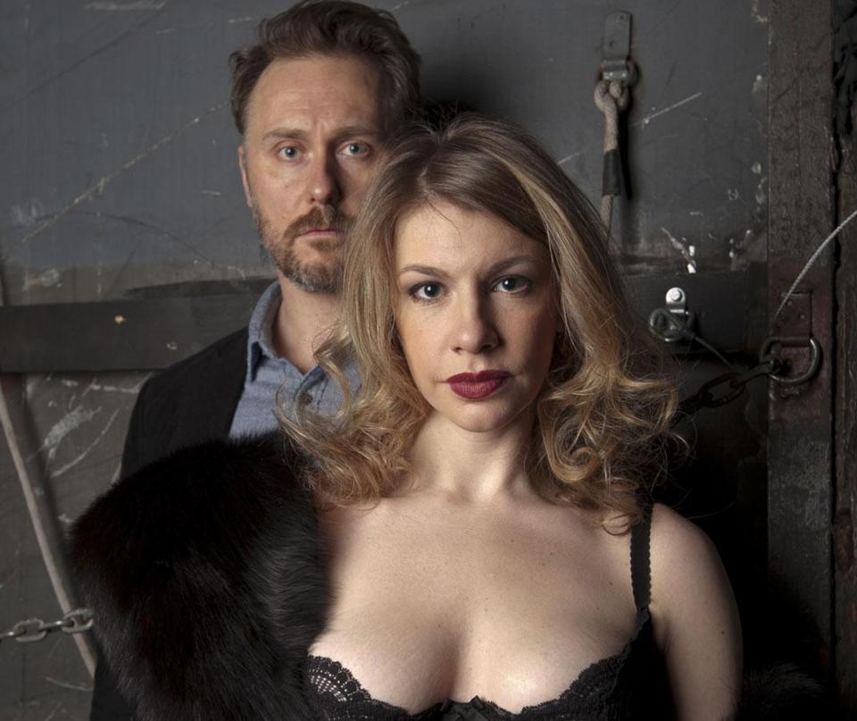 "Chris Kipiniak and Andrea Syglowski star in the Hunting-ton Theatre Company's production of ""Venus in Fur."""