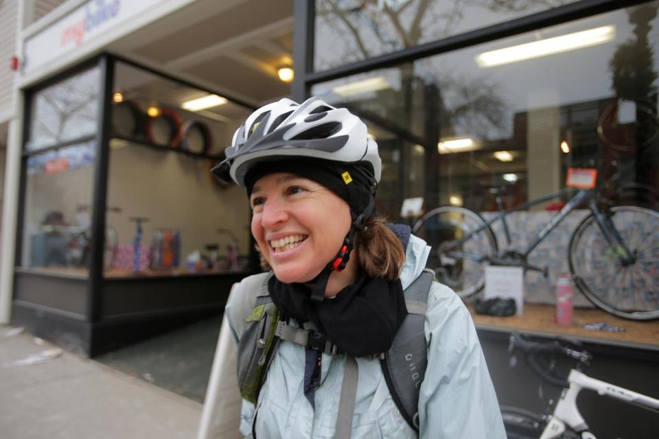 Nicole Freedman led a winter ride along West Fourth Street in South Boston in late 2013.