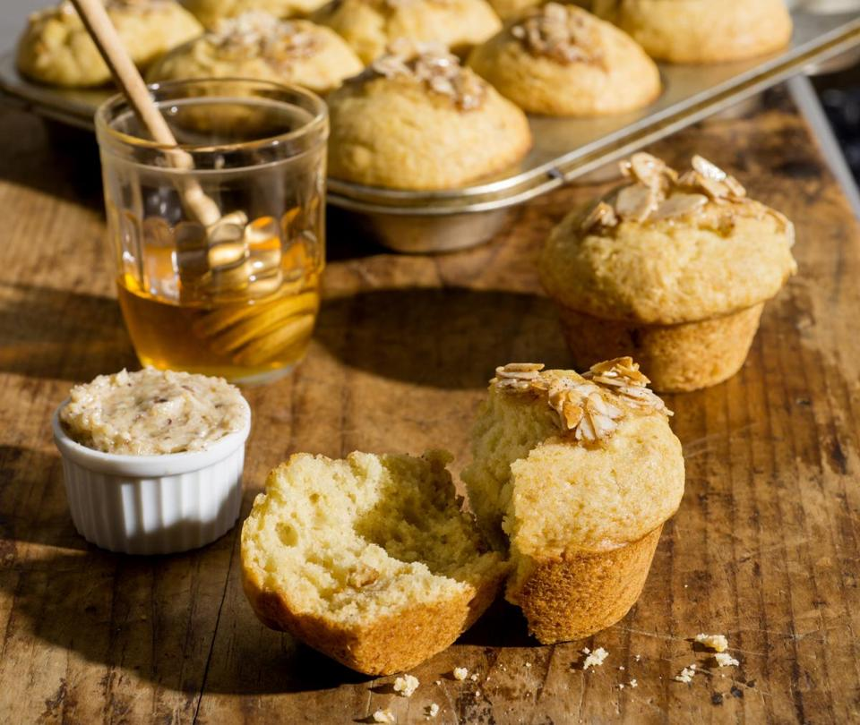 Honey muffins and honey-nut butter.