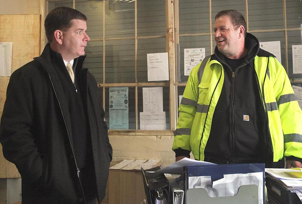 Mayor-elect Martin J. Walsh chatted with foreman Gerry Verisotosky during a visit to the city's Public Works yard in Dorchester.