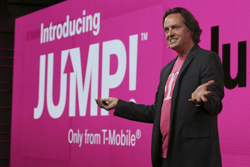 "T-Mobile CEO John Legere, known for his tough talk, derided AT&T's plan. ""Customers will still feel the same old pain that AT&T is famous for,"" he said."