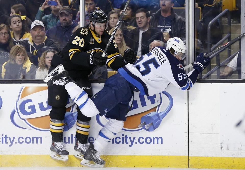 Daniel Paille checked Mark Scheifele into the boards during the second period.