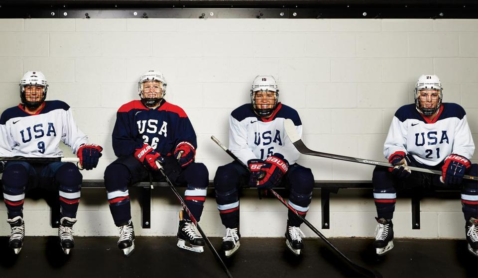 Women's Olympic team members (from left) Megan Bozek, Kendall Coyne, Anne Schleper, and Hilary Knight. All chose to live with local families during their six months of training in the Boston area.