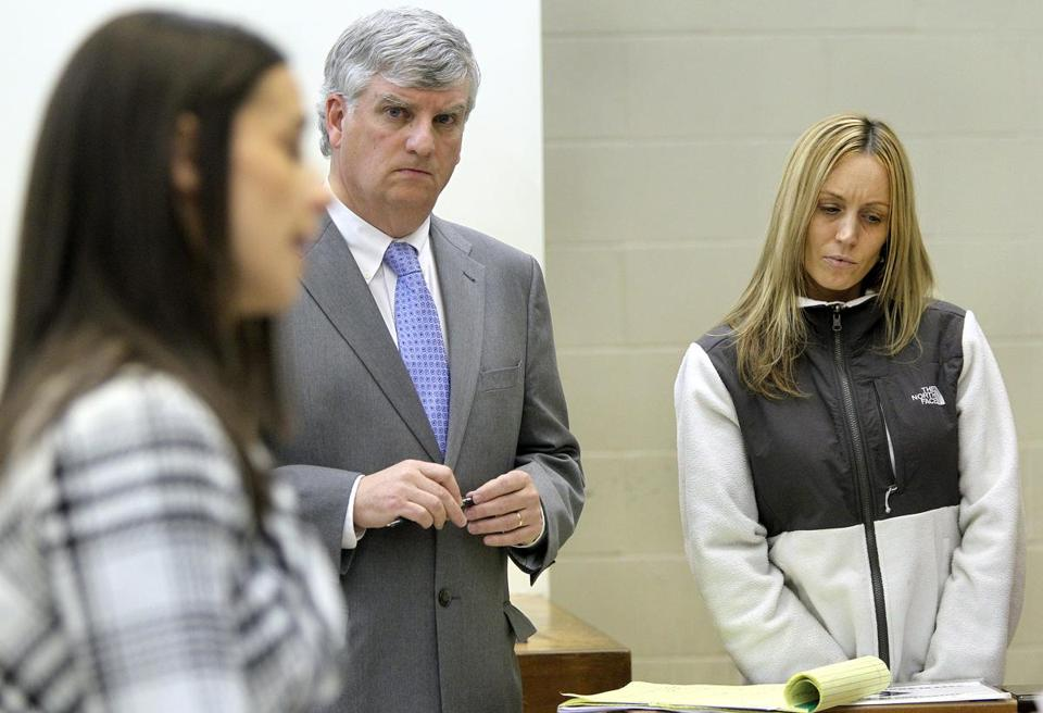 Janelle Foley (right) was arraigned on four counts of statutory rape in Quincy District Court on Thursday.