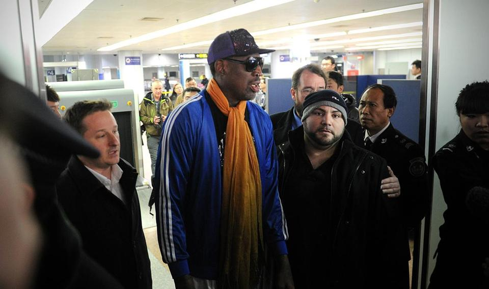 Dennis Rodman arrived at Beijing International Airport from North Korea on Monday.