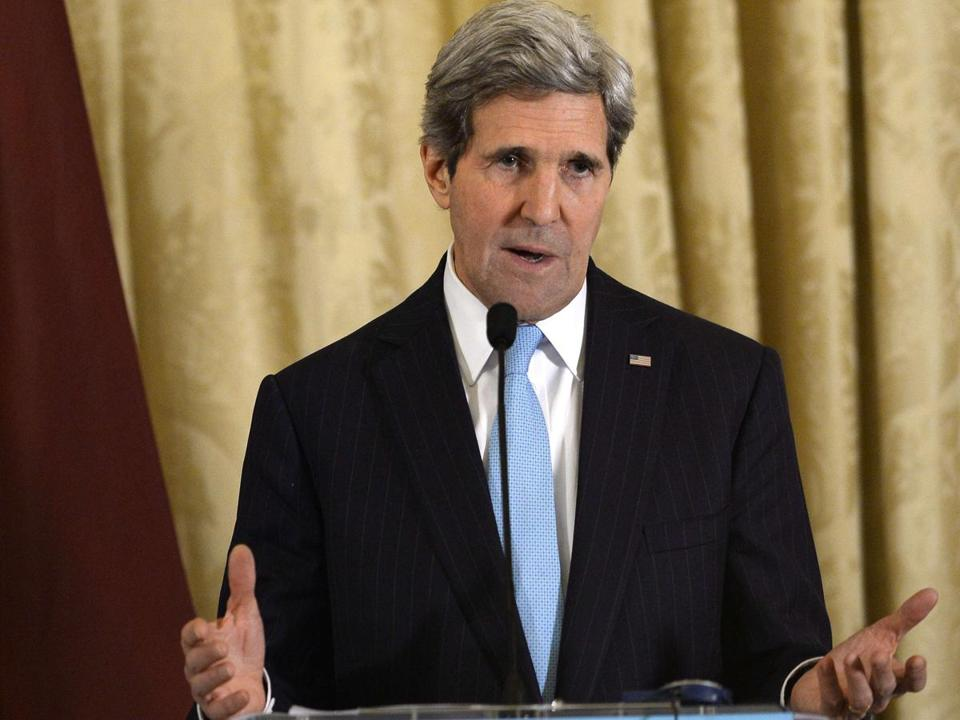 """We are clear-eyed about the even greater challenges we all face,'' John Kerry said."