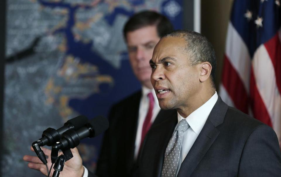 Governor Deval Patrick, joined by Boston Mayor Martin Walsh, announced a series of climate change initiatives Tuesday.