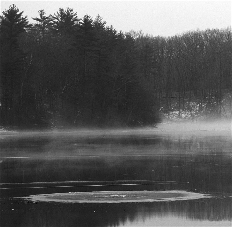 "One of Walden Pond's ""magic circles,"" a hole in the glaze of ice allowed an upwelling of  water that froze overnight."