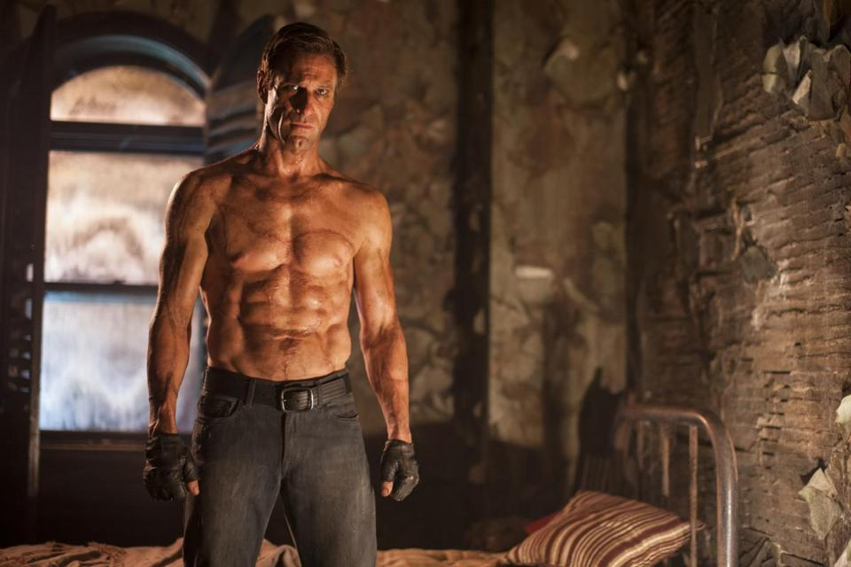 "Aaron Eckhart as the featured creature in ""I, Frankenstein."""