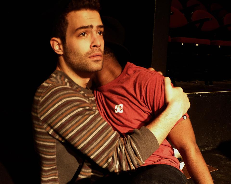 Jesse Wood (as Actor 1/White Man) and Marc Pierre (as Actor 4/Another Black Man) in the production by ArtsEmerson and Company One Theatre.