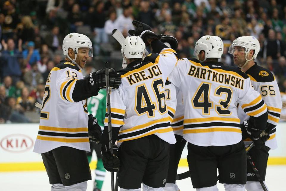 David Krejci celebrated his goal with fellow Bruins.