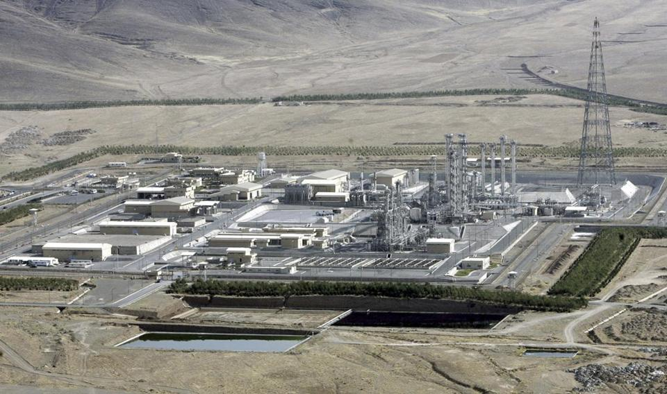 An aerial view of a heavy-water production plant in the central Iranian town of Arak.