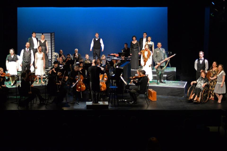 "For Emmanuel Music's presentation of ""A Little Night Music,'' stage director Lynn Torgove put the orchestra onstage and interspersed the action on risers among the musicians."