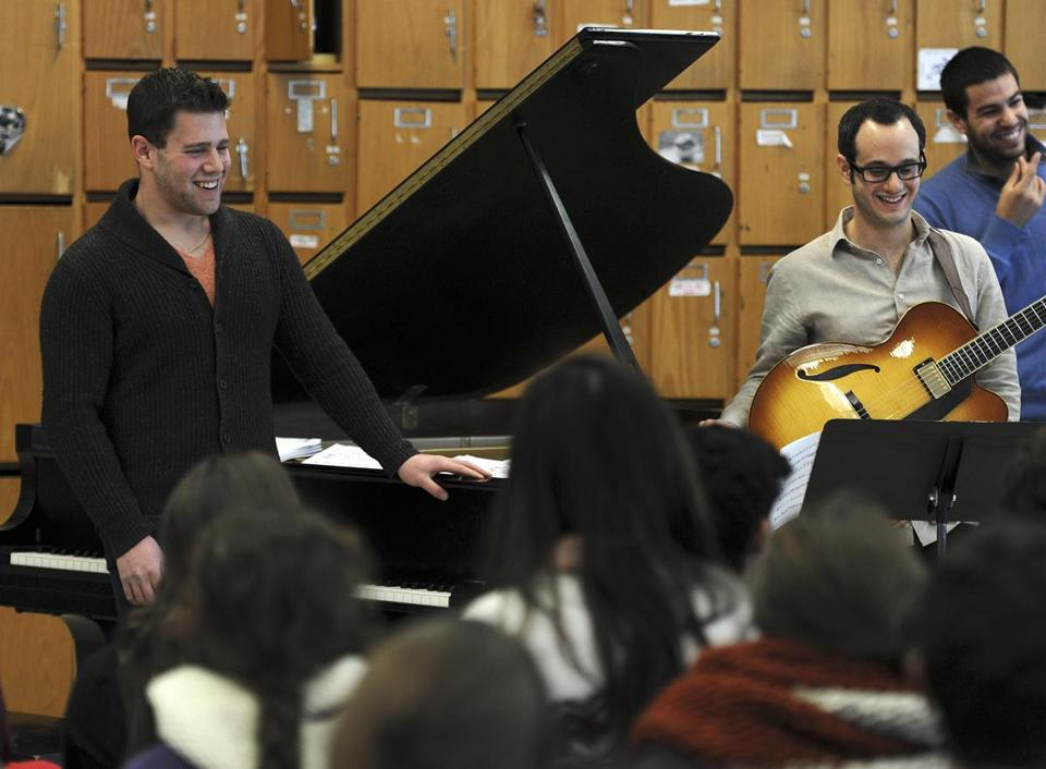 Pianist-composer Steven Feifke stopped in Wednesday at his alma mater, Lexington High School.