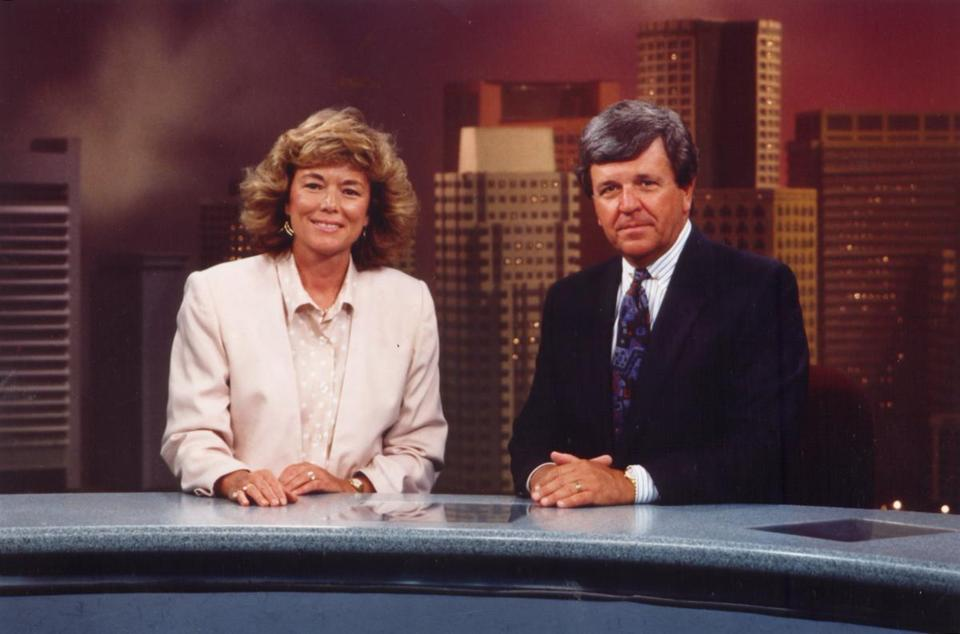 Co-anchors and husband and wife team Natalie Jacobson and Chet Curtis.