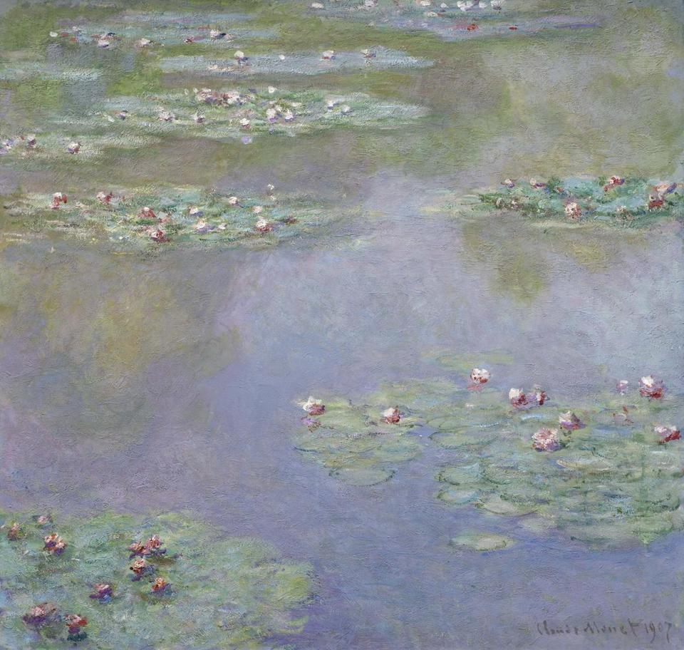 "Two paintings in the finals of the ""Boston Loves Impressionism"" contest: Vincent van Gogh's ""Houses at Auvers"" (far left) and Claude Monet's ""Water Lilies."""