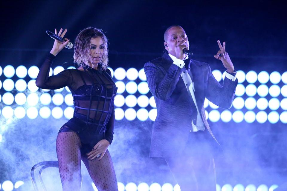 "Beyonce and Jay-Z perform ""Drunk in Love"" at the 56th annual Grammy Awards in Los Angeles late last month."