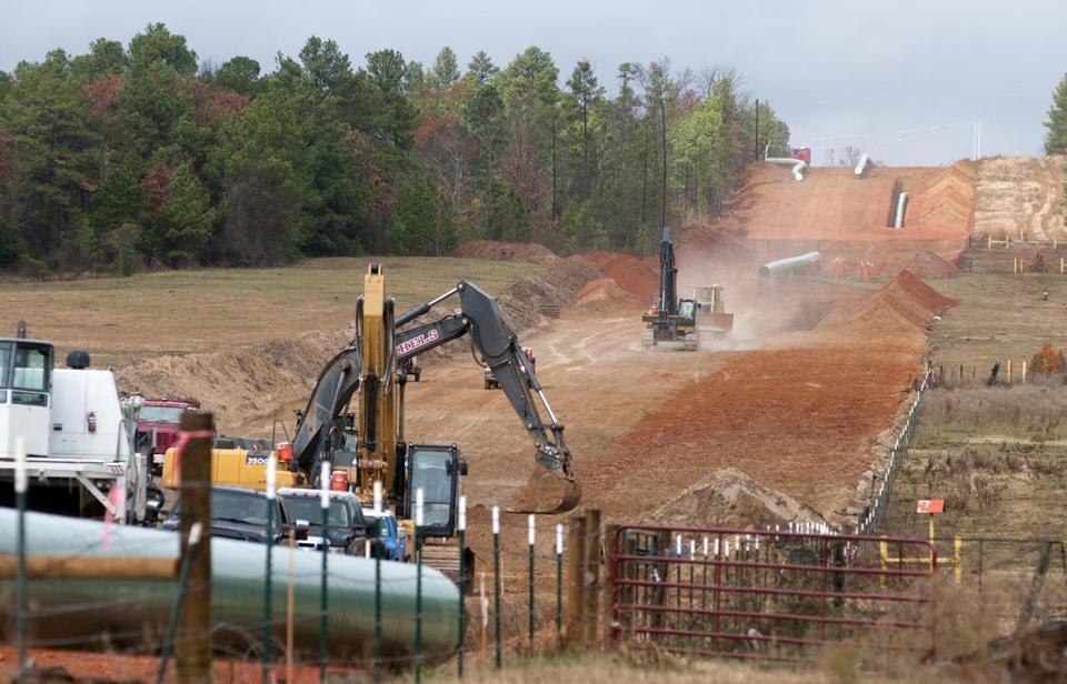 Crews worked on construction of the Keystone XL pipeline in Texas.