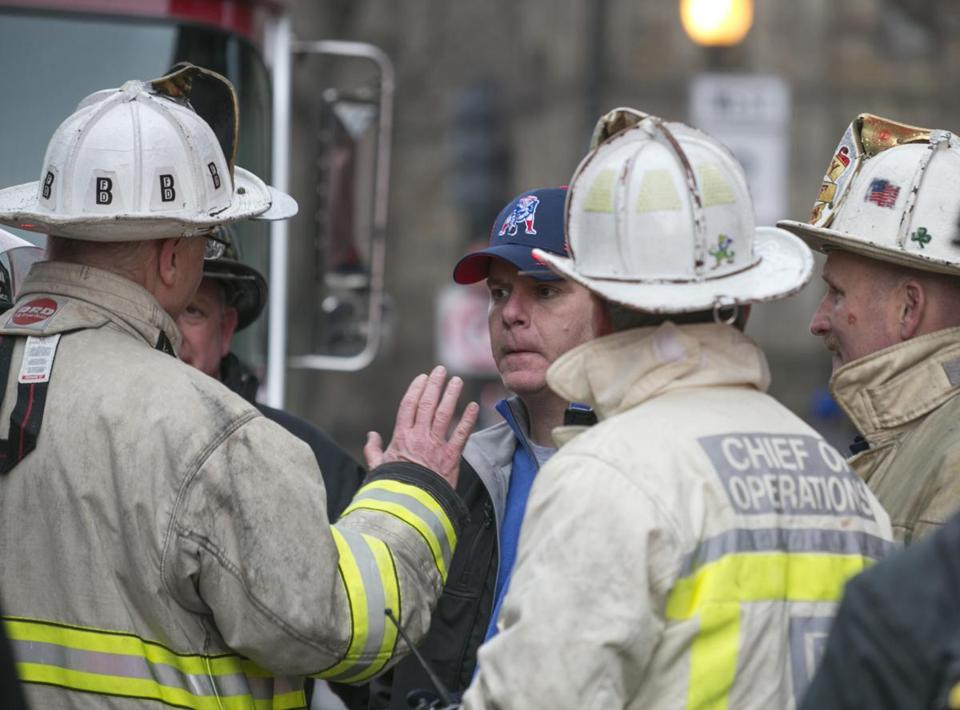 Incident Commander Deputy Chief Joseph Fleming briefed Mayor Martin J. Walsh last month.