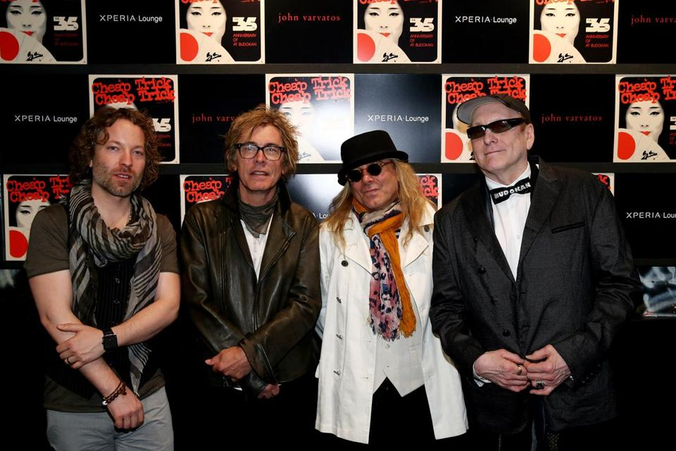 "Above (from left): Daxx Nielsen, Tom Petersson,  Robin Zander, and Rick Nielsen at the 35th anniversary of Cheap Trick's ""Live at Budokan"" in New York City."