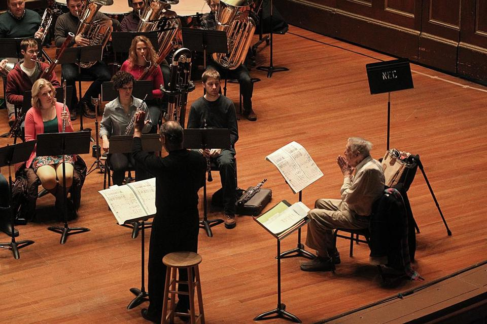 Gunther Schuller (seated, at left and below) and instructor Charles Peltz leading a rehearsal at the New England Conservatory.
