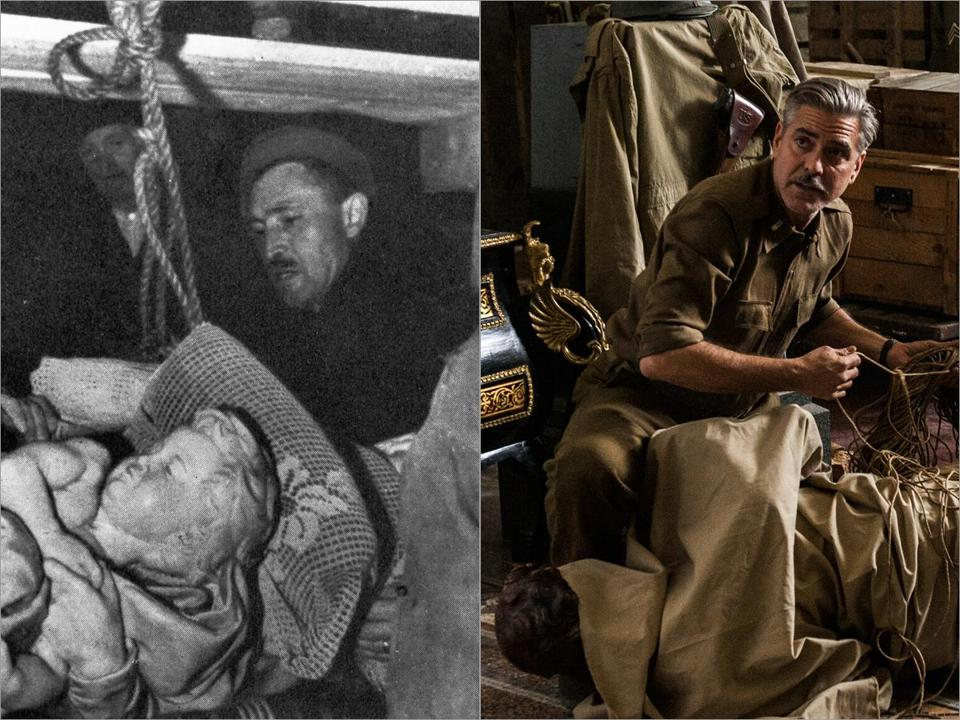 "George Stout (left) helped remove Michelangelo's ""Bruges Madonna"" from an Austrian salt mine. George Clooney based his character in ""The Monuments Men"" on Stout, who had worked at Harvard's Fogg Museum."
